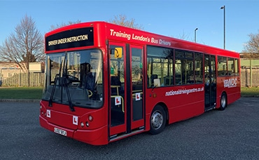 Red bus for driver training