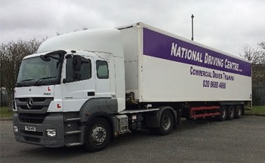 Artic LGV/HGV Cat C+E class 1 lorry with National Driving Centre signage