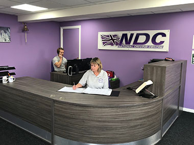 Staff in National Driving Centre's reception